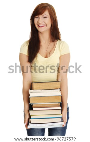 Happy teen woman holding books , isolated on white background - stock photo