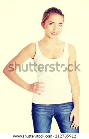 Happy teen woman. Isolated on white background. - stock photo