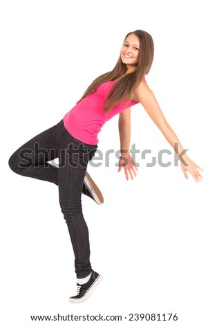 Happy Teenage Attractive Girl Leap Left Isolated On White - stock photo