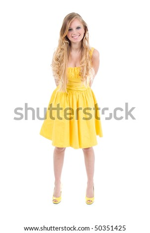 happy teenage girl isolated on a white background .beautiful blonde girl