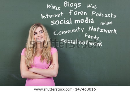 Happy teenage girl looking at collection of social media and networking related words on blackboard - stock photo