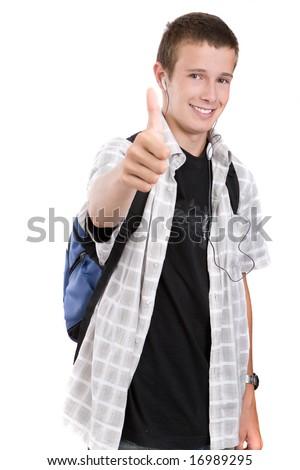 happy teenager preparing to school - stock photo