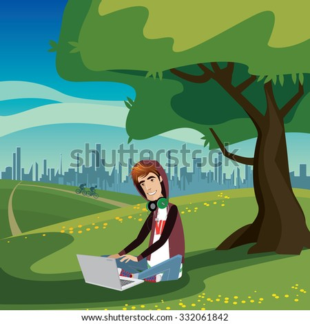 Happy teenager sitting under the tree in city park, using laptop and thinking bubble | raster version - stock photo