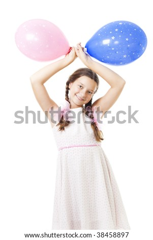 Happy teenager smile and stand with two balloon at her birthday in tender pink dress,isolated on white - stock photo