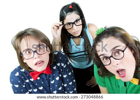 Happy teenager student wearing glasses - stock photo