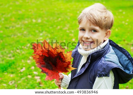 happy ten years old boy in the autumn park with leaves in his hands