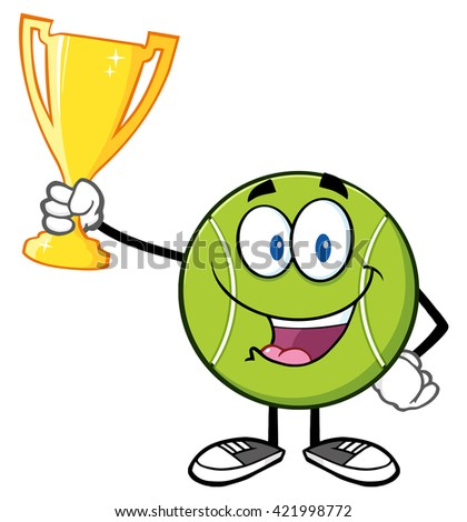 Happy Tennis Ball Cartoon Character Holding A Trophy Cup. Raster Illustration Isolated On White - stock photo