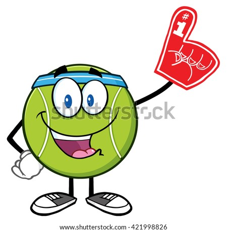 Happy Tennis Ball Cartoon Mascot Character Wearing A Foam Finger. Raster Illustration Isolated On White - stock photo