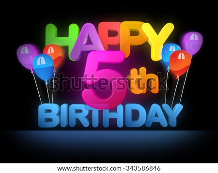 Happy 5th birthday Title in big letters - stock photo