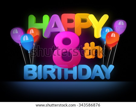 Happy 8th birthday Title in big letters - stock photo
