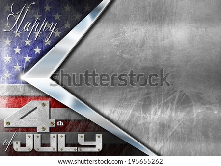 Happy 4th of July Independence Day / Grunge metallic background with US flag, space for text and phrase: Happy 4th of July - Independence Day - stock photo