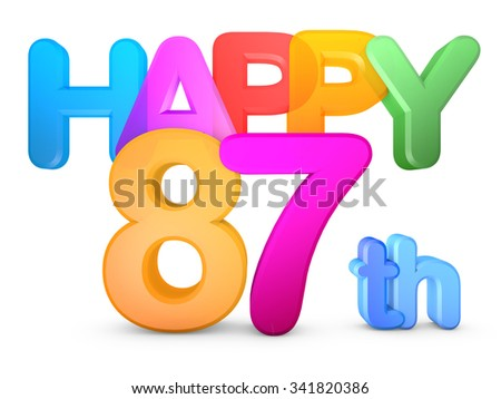 Happy 87th Title in big letters - stock photo