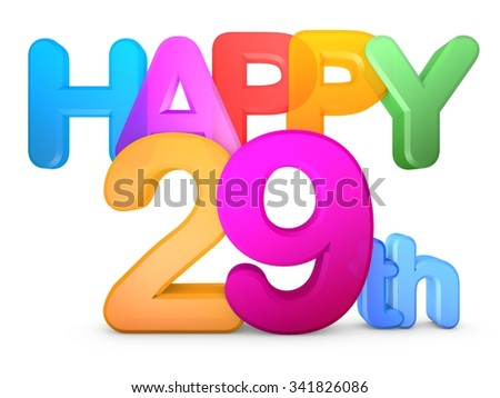 Happy 29th Title in big letters - stock photo