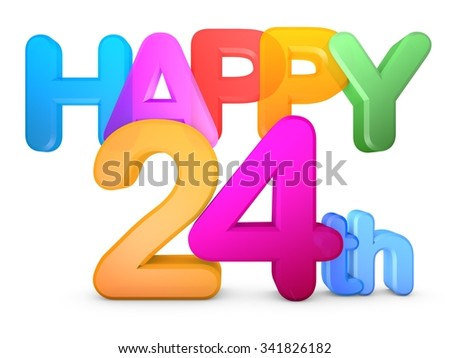 Happy 24th Title in big letters - stock photo