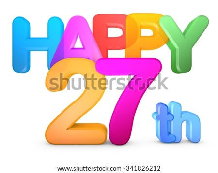 Happy 27th Title in big letters - stock photo