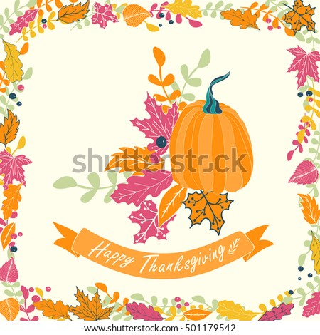 Happy Thanksgiving card design. Illustration of pumpkin with flowers, leaves and ribbon.