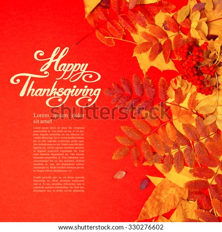 Happy Thanksgiving day! Autumn leaves. - stock photo