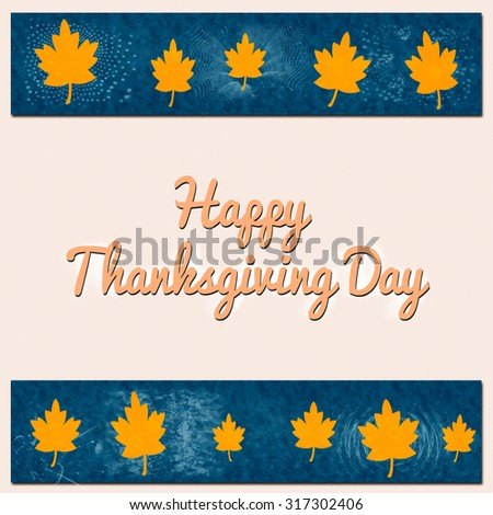 Happy thanksgiving day illustration with leaves - stock photo