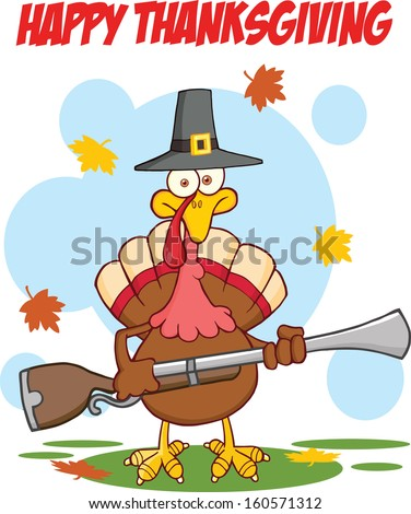 Happy Thanksgiving Greeting With Turkey With Pilgrim Hat And Axe. Raster Illustration - stock photo