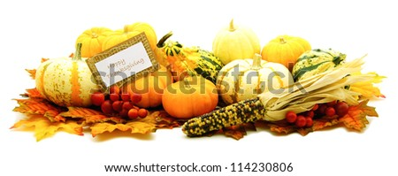 Happy Thanksgiving tag among a group of pumpkins harvest vegetables - stock photo
