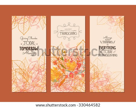 Happy Thanksgiving. Three autumn banners with stylized autumn leaves - stock photo