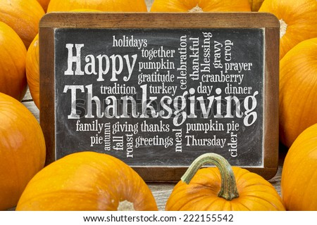 Happy Thanksgiving word cloud on a  vintage slate blackboard surrounded by pumpkins - stock photo