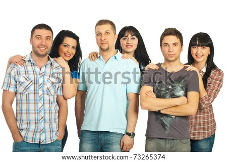 Happy three couple with different ages  standing in a line and each woman embracing her partner isolated on white background - stock photo