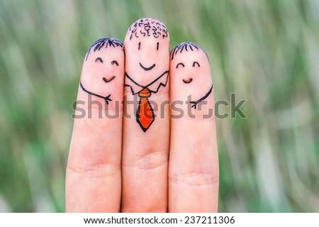 Happy three fingers - stock photo