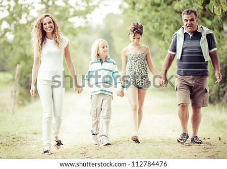 Happy Three Generations Family Outdoor,Italy - stock photo