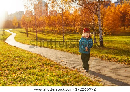 Happy three years old little boy walking on the road in the autumn park - stock photo