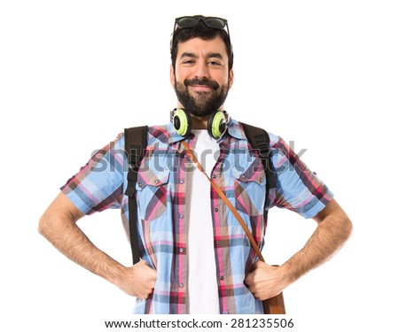 Happy tourist over white background