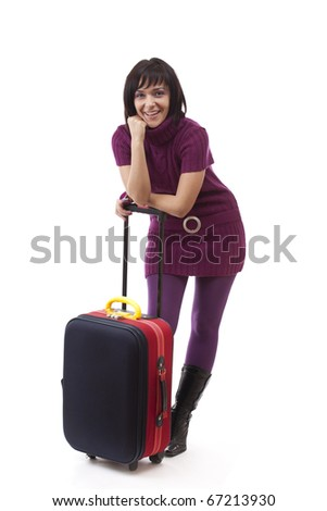 Happy tourist woman . Isolated over white background. - stock photo