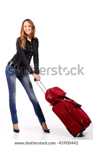 Happy tourist woman with a red suitcase. Isolated over white background - stock photo