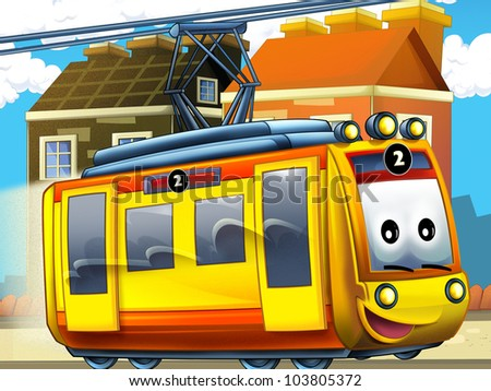 Happy tram in the city - stock photo