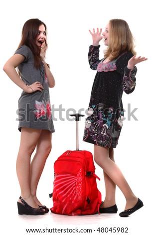 Happy travellers - stock photo