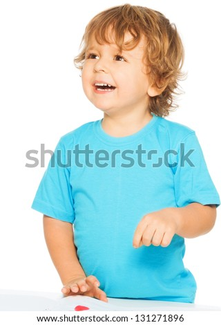 Happy two years old boy smiling, isolated on white - stock photo