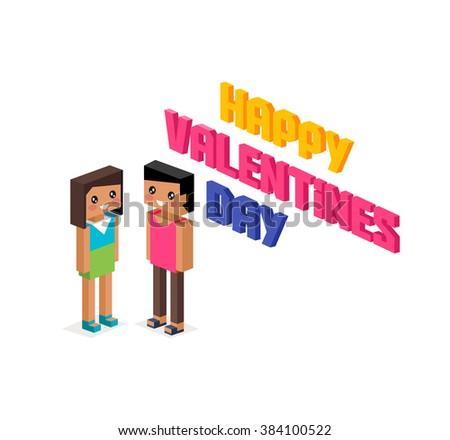 Happy valentine day couple 3d isometric. Valentines day, happy valentine, young couple, happy couple, valentine couple in love, isometric 3d couple people, romantic relationship lover illustration - stock photo