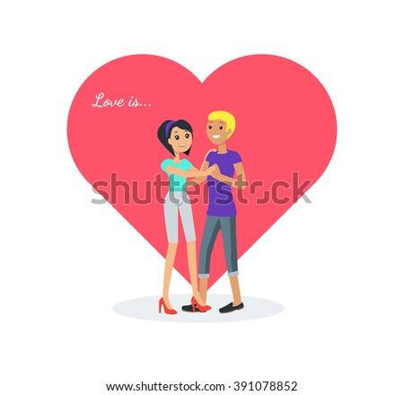Happy valentine day couple dancing design flat. Valentines day, happy valentine, couple love, young couple, love and happy couple, woman and man couple, celebration pair, people romantic. Love is - stock photo