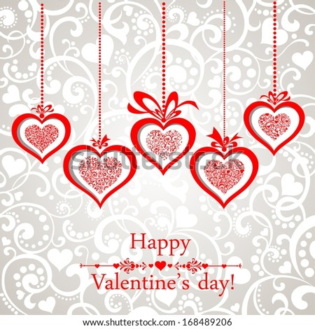 Happy Valentine's day! Celebration background with hearts and place for your text. illustration  - stock photo