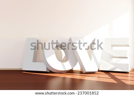 Happy Valentine's Day Concept. Modern Empty Room Interior with LOVE near the wall. 3D Rendering - stock photo