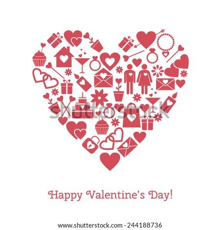 Happy Valentine's Day greeting card. Raster version - stock photo