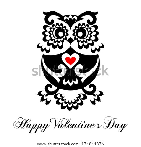 Happy Valentine's Day Greeting Card with funny Owl. Raster Version. - stock photo