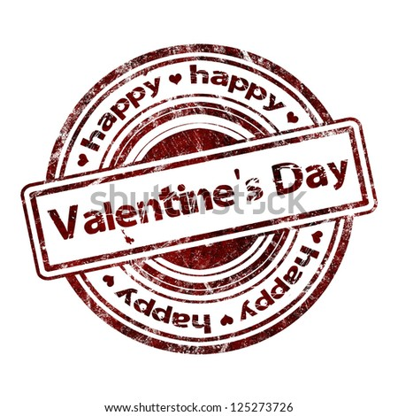 Happy Valentine's Day Grunge Rubber Stamp - stock photo
