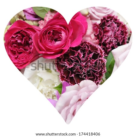 Happy Valentine's Day heart with flowers   - stock photo