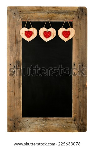 Happy Valentine's Day Love Chalkboard restaurant menu board reclaimed pallet wooden frame and hearts, isolated on white with copy space