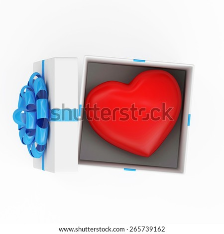 Happy Valentine's Day or Declaration of Love. Opened Gift box with shiny big red Heart inside isolated on white background - stock photo