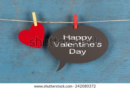 Happy Valentine's Day Speech Bubble with Heart Shape - stock photo