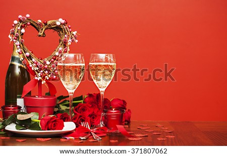 Happy Valentineâ??s day. Table setting for love romantic dinner