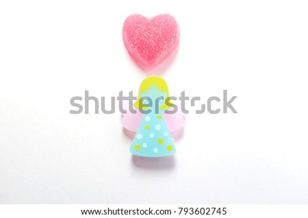 Happy Valentines Day Angel Heart Candies Stock Photo Royalty Free