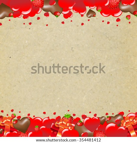 Happy Valentines Day Border With Heart  - stock photo